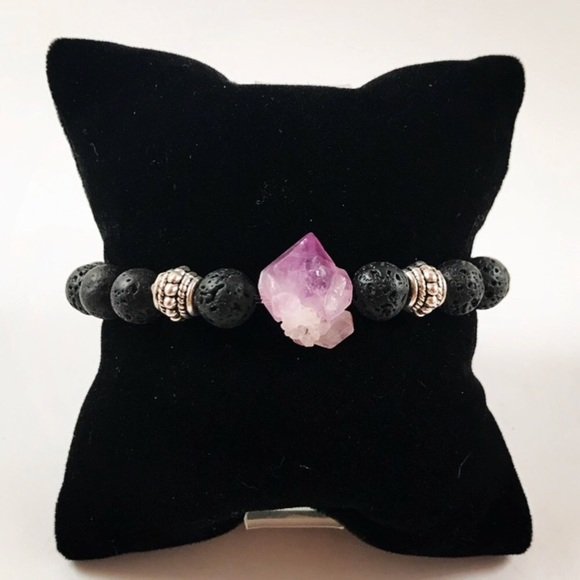 Silverskylight Jewelry - Genuine raw Amethyst cluster lava rock bracelet